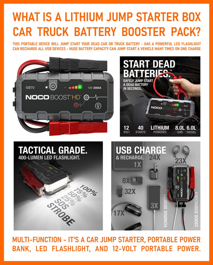 Battery pack to jump start dead car or truck
