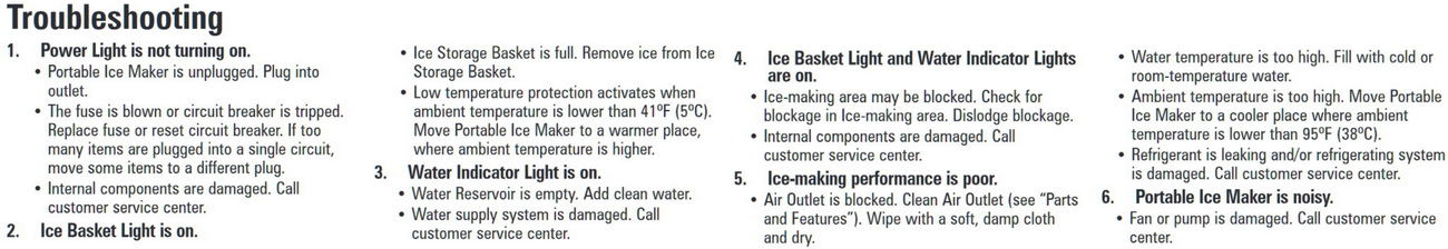 How to troubleshoot a portable ice maker